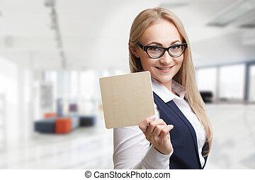tecnologia, internet, negócio, e, marketing., jovem, mulher negócio, escrita, word.