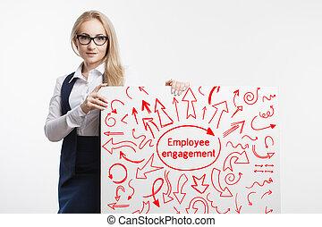 tecnologia, internet, negócio, e, marketing., jovem, mulher negócio, escrita, word:, empregado, engagement.