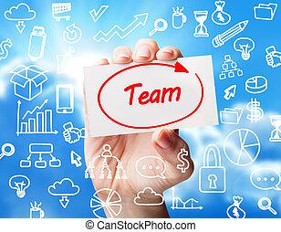 tecnologia, internet, negócio, e, marketing., jovem, mulher negócio, escrita, word:, equipe