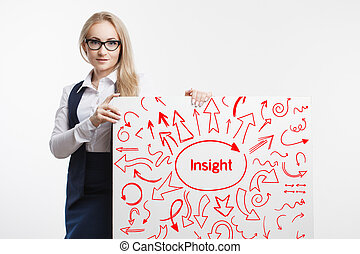 tecnologia, internet, negócio, e, marketing., jovem, mulher negócio, escrita, word:, insight.