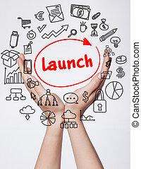 tecnologia, internet, negócio, e, marketing., jovem, mulher negócio, escrita, word:, lançamento