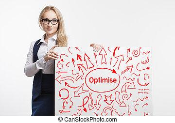 tecnologia, internet, negócio, e, marketing., jovem, mulher negócio, escrita, word:, optimise.