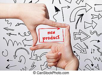 tecnologia, internet, negócio, e, marketing., jovem, mulher negócio, escrita, word:, produto novo