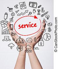 tecnologia, internet, negócio, e, marketing., jovem, mulher negócio, escrita, word:, serviço