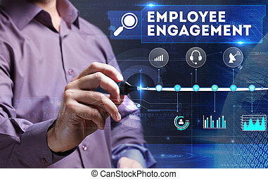 tecnologia, internet, negócio, e, marketing., jovem, pessoa negócio, vê, a, word:, empregado, obrigação