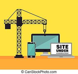 tecnologia, local, construção, guindaste, ícone