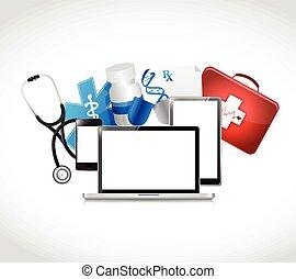 tecnologia, médico, desenho, ilustração, conceitos
