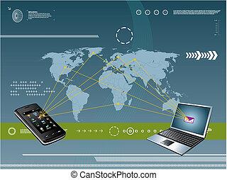 tecnologia, móvel, fundo