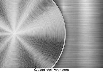 tecnologia, metal, fundo, textured, escovado, circular