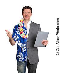 tecnologia negócio, e, férias tropicais