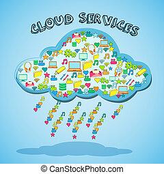 tecnologia, nuvem, emblema, rede, serviço