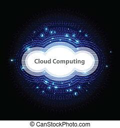 tecnologia, nuvem, fundo, computando