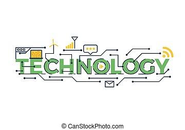 tecnologia, palavra, ilustração