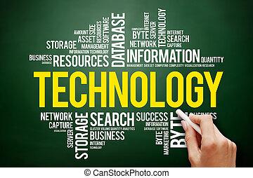tecnologia, palavra, nuvem, colagem