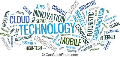 tecnologia, palavra, nuvem, ilustração