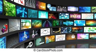 tecnologia rádio, e, social, mídia