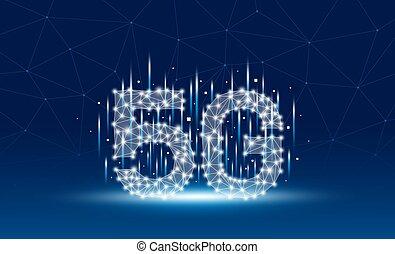 tecnologia, rede, 5g, vetorial, ilustração, móvel, fundo, azul, desenho