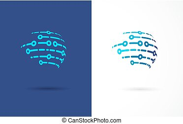 tecnologia, símbolo, -, tech, logotipo, ícone