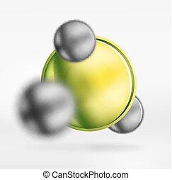 tecnologia, sfere confuse, e, rotondo, cerchi, con, lucido, e, metallico, superficie