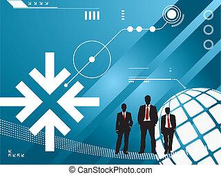 tecnologia, silueta, homens negócios, fundo