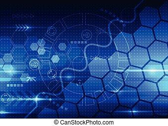 tecnologia, telecom, abstratos, engenharia, vetorial, fundo, futuro