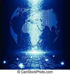 tecnologia, telecom, abstratos, global, vetorial, fundo, ...