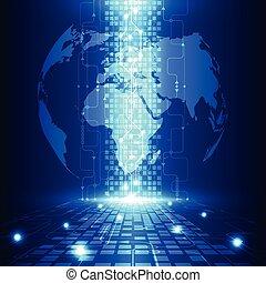 tecnologia, telecom, astratto, globale, vettore, fondo,...