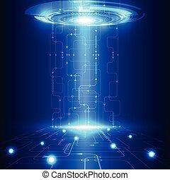 tecnologia, telecom, astratto, vettore, fondo, futuro,...