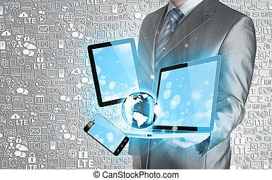 tecnologia, Uomini affari, mani