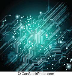 tecnologia, vettore, fondo, con, scheda circuito, struttura