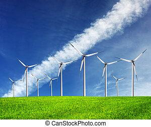 tecnologias, futuro, moinhos vento