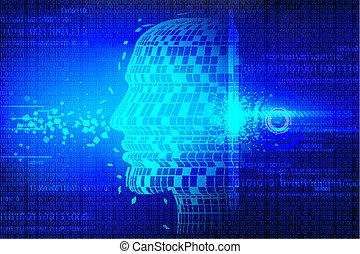 tecnologico, fondo, con, testa umana