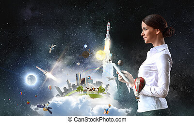 tecnologie, connettere, mondo
