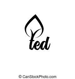 ted, vektor, træ, brev, logo