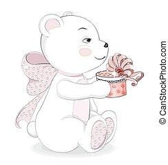 Teddie bear with gift - Lovely polar Teddy Bear with a gift ...