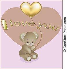 Teddie's bear with a gold balloon heart - lovely teddy bear ...