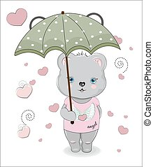 Teddt bear in Graphic Tee and umbrella