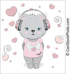 Teddt bear in headphones and Graphic Tee