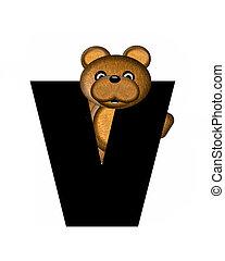 teddy, alphabet, v