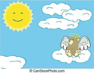 teddy angel cartoon background