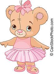 teddy, ballerina, björn, söt