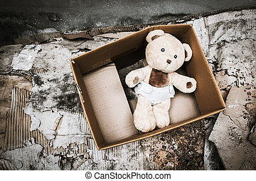 teddy bear abandoned piles of paper,vintage