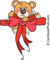 Teddy bear above red bow ribbon