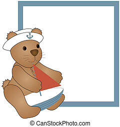 A teddy bear holding a sailboat over a blue and white background