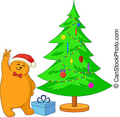 Teddy bear and Christmas tree