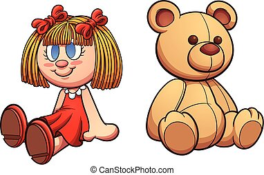 Teddy bear and doll. Vector clip art illustration with...