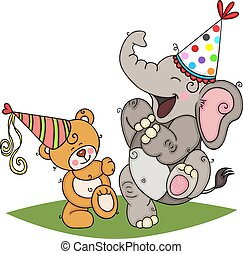 Teddy bear and elephant dancing in party