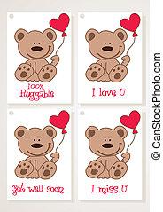 Teddy bear and heart cards.