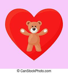 Teddy Bear and Heart - Teddy Bear and red heart on the ...