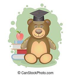 Teddy bear and scientist